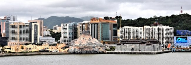 Volcano and castle shaped casinos, Macau waterfront