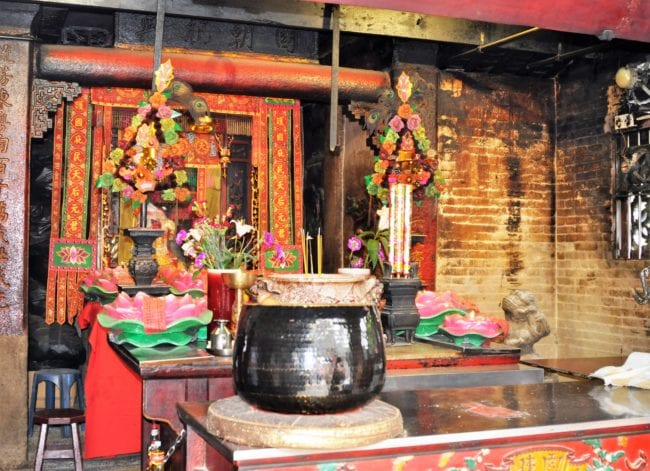 Incense pot and altar in a Tao temple,