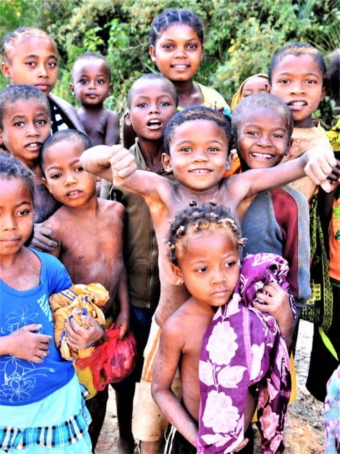 A group of children pose for their picture in Madagascar