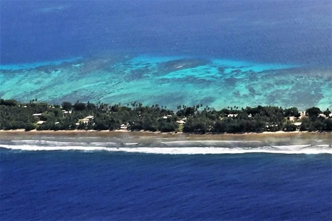 A view of Majuro and the lagoon from the air
