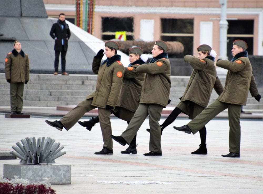 Goose stepping soldiers in Minsk