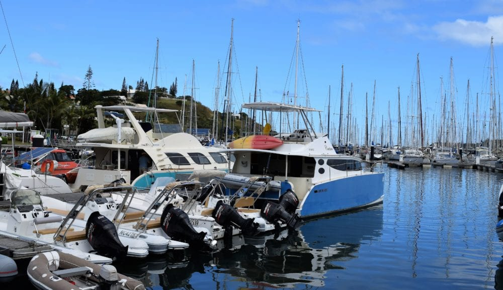 Motor boats and yachts in the harbour at Noumea
