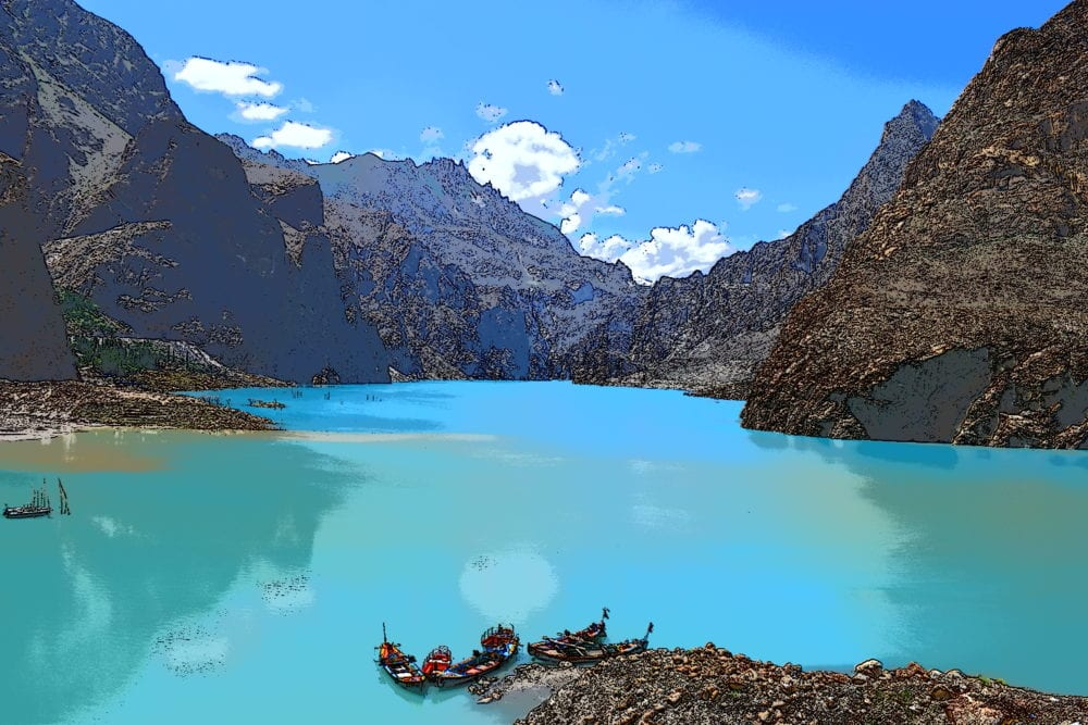 The bright turquoise water of Lake Attabad, Hunza Valley