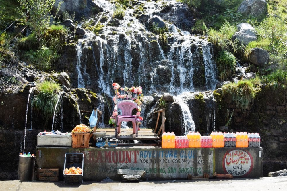 A waterfall is used to cool drinks for sale in Pakistan