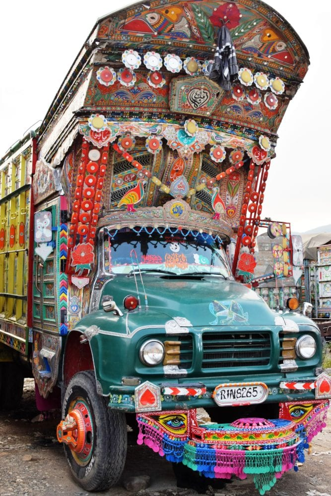 The front of a highly decorated truck, Pakistan