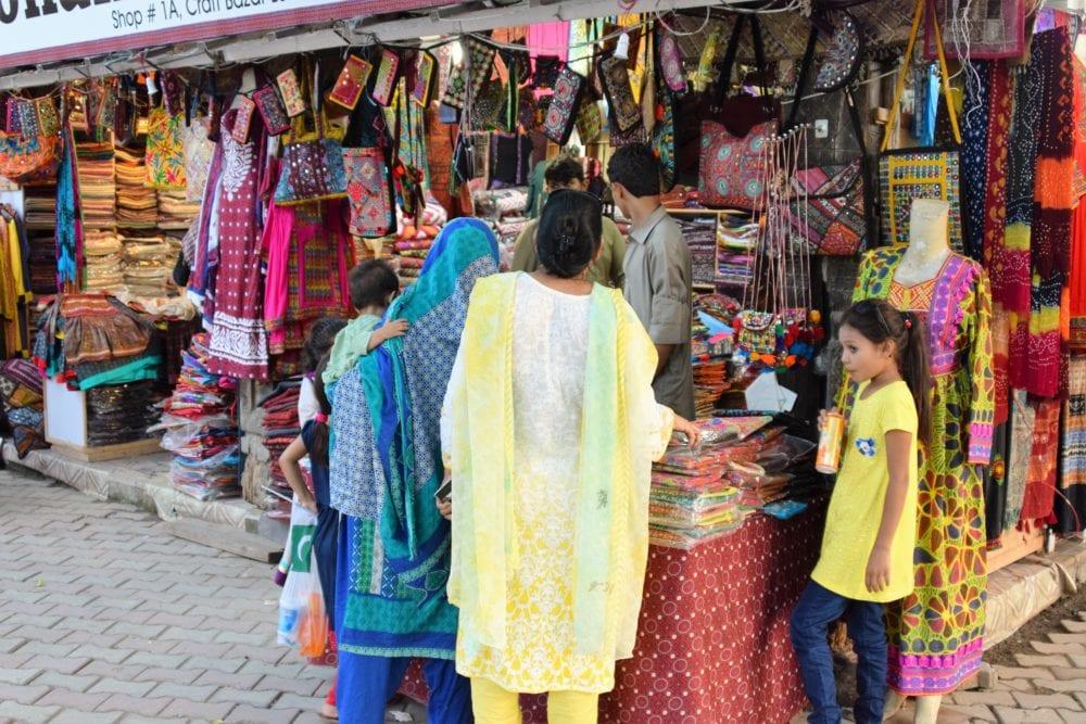 Shoppers at a street market, Pakistan