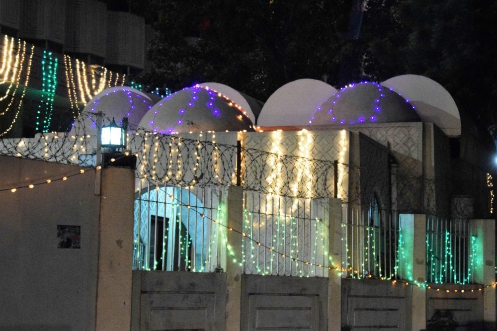 An illuminated multi domed restaurant in Lahore