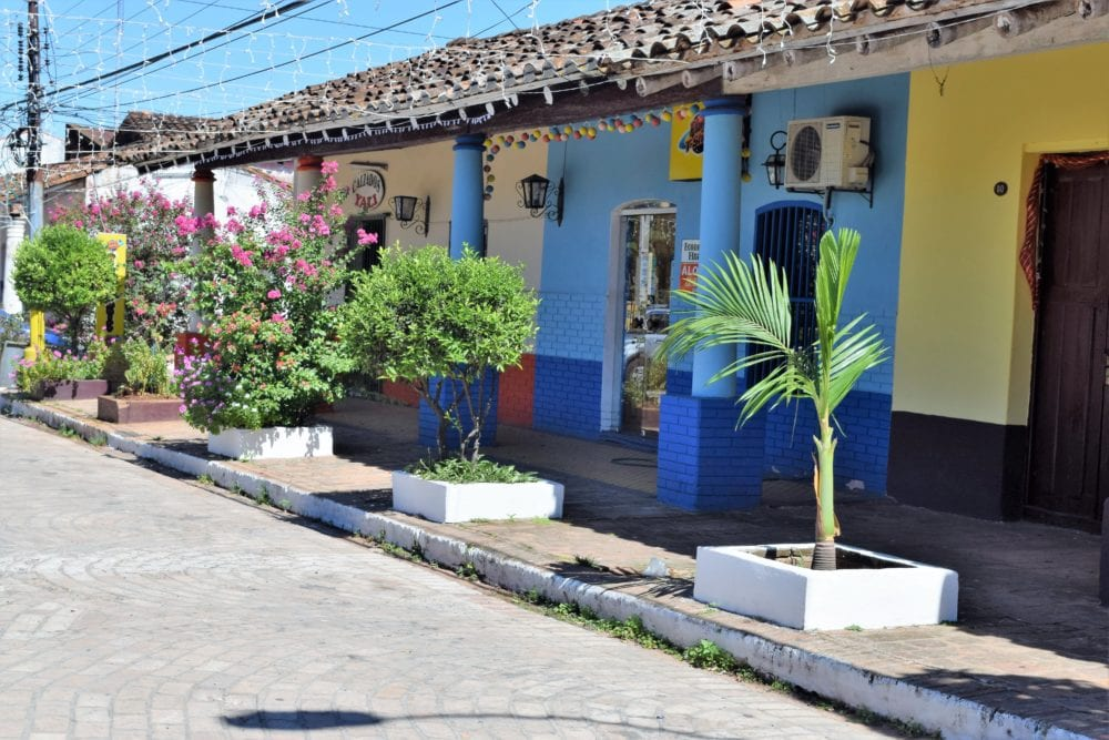 Brightly painted adobe houses in Aregua