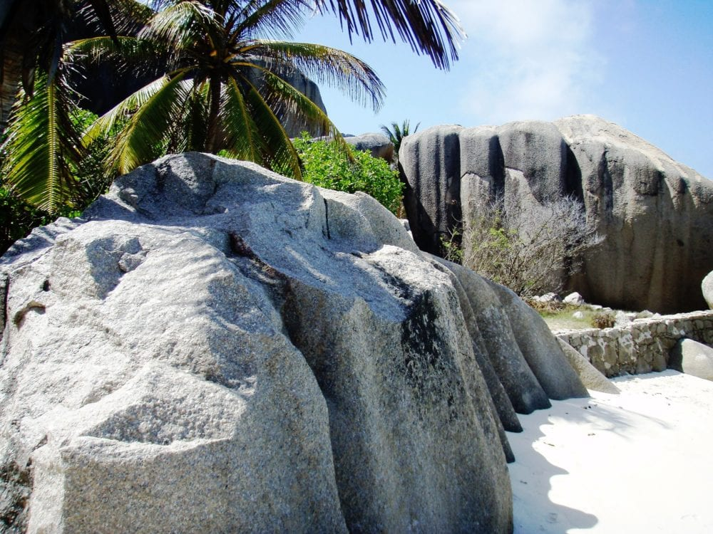 Striated boulders on the beach at Anse Source D'Argent, La Digue