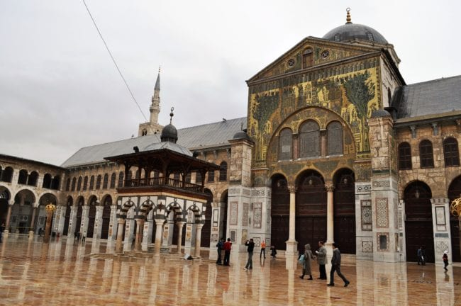 The courtyard and façade of the Umayyad Mosque in Damascus, Syria