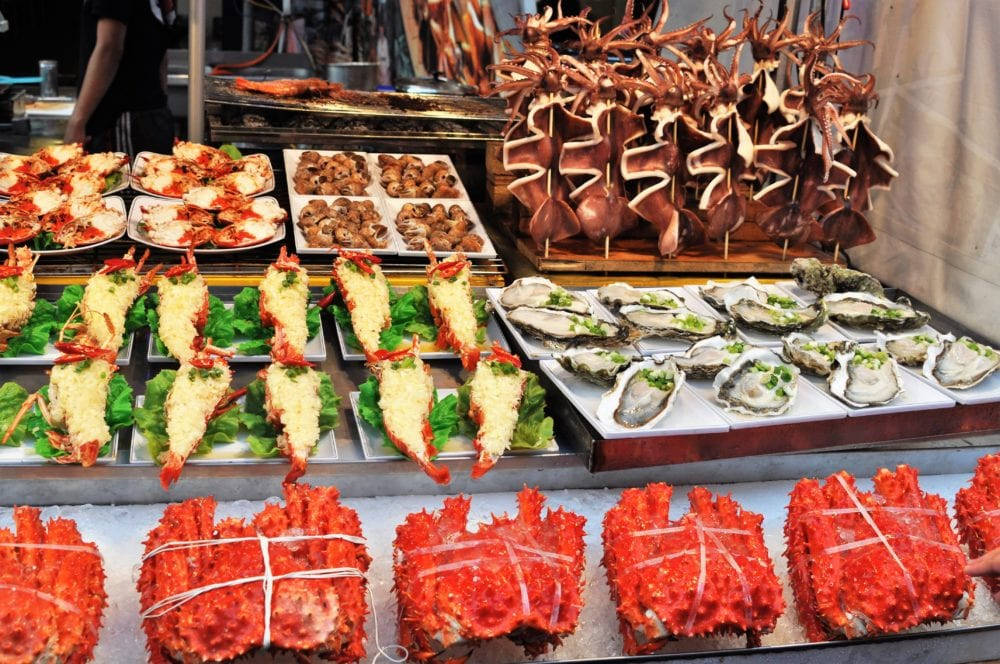 A sea food stall at the night market in Kaohsiung