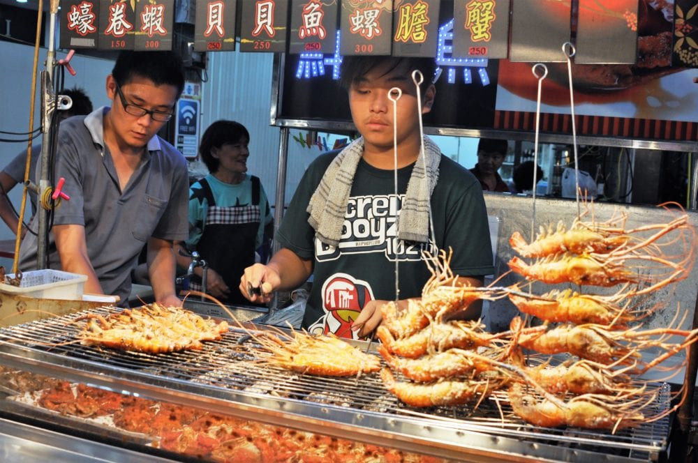A lobster stall at the night market in Kaohsiung