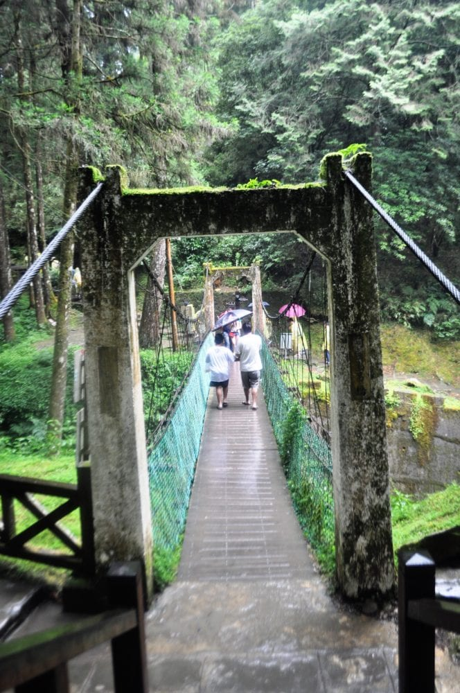 A moss covered stone suspension bridge at Alishan Scenic Park