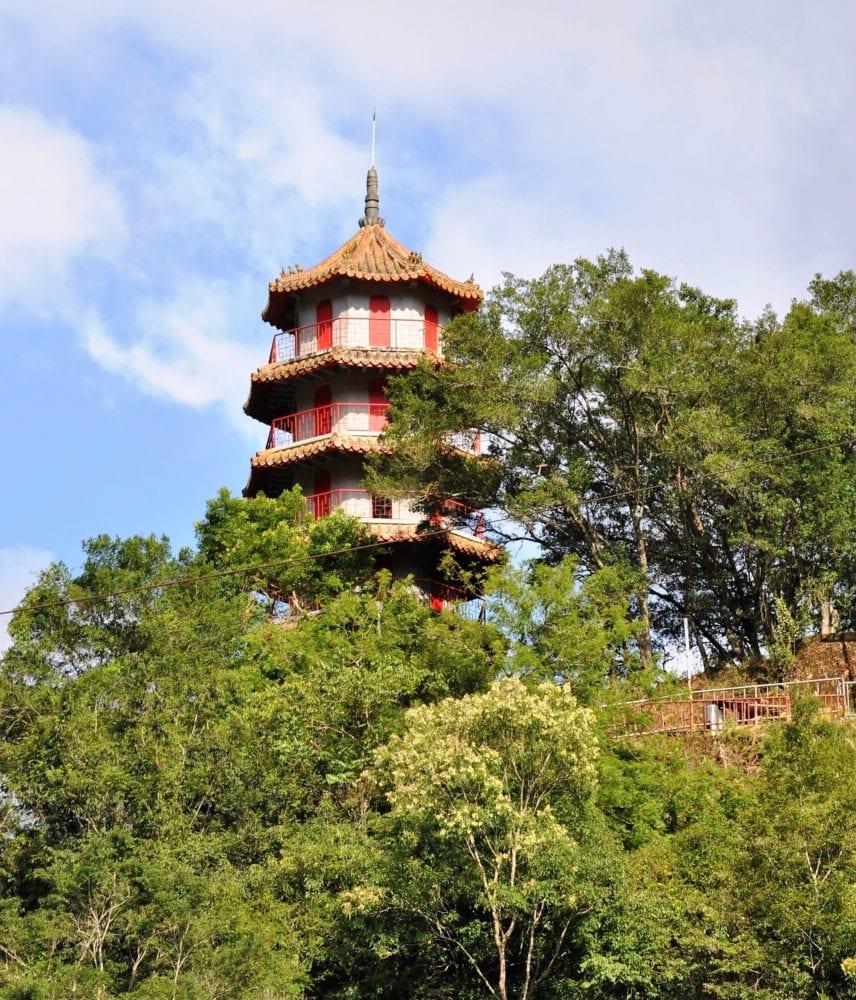 A pagoda peeps above the trees near Taroko Gorge