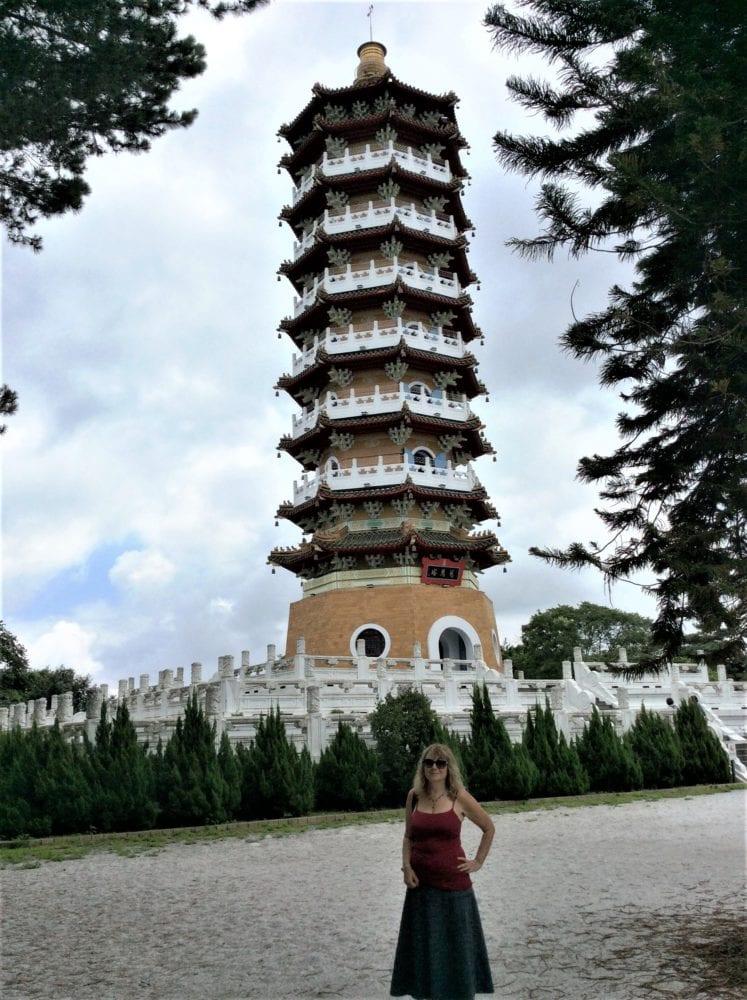 Sue in front of a pagoda at Sun Moon Lake Taiwan
