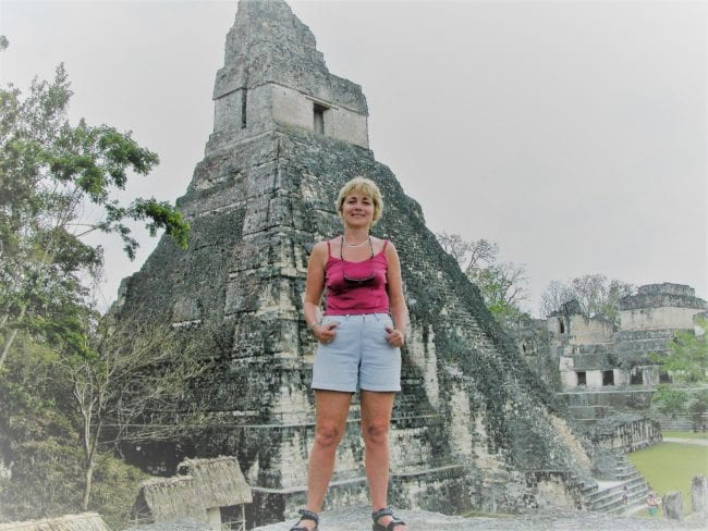 Sue in front of Tikal Temple 1