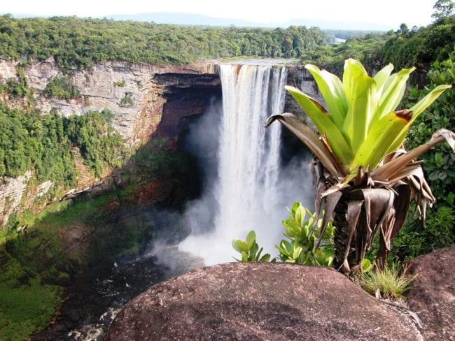 The full drop of the Kaiteur Falls Guyana