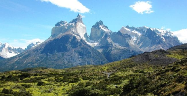 A panoramic view of the Torres del Paine mountains, Patagonia