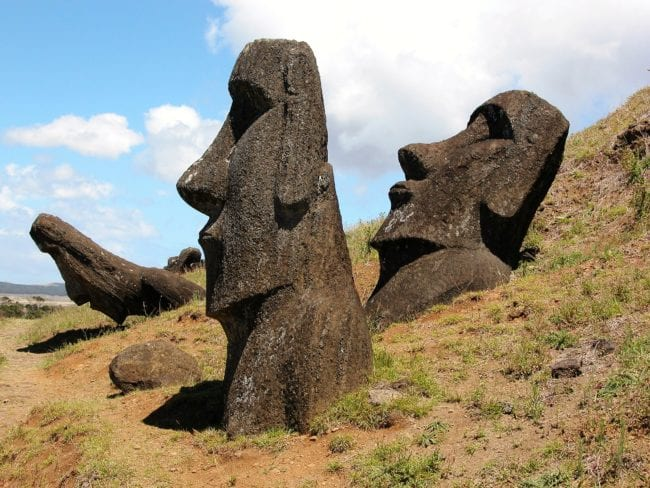 Moia heads on Easter Island