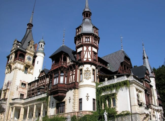 A side view showing the turrets on Peles Castle, Romania
