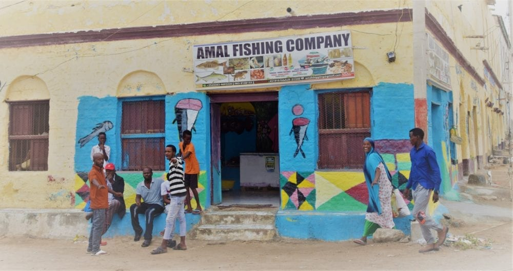 A painted fish shop front in Berbera