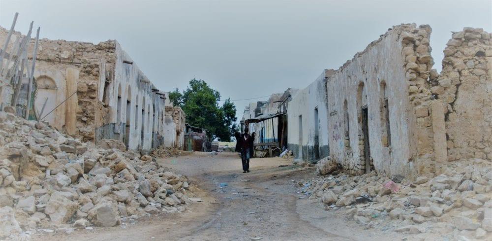 A ruined street in Berbera