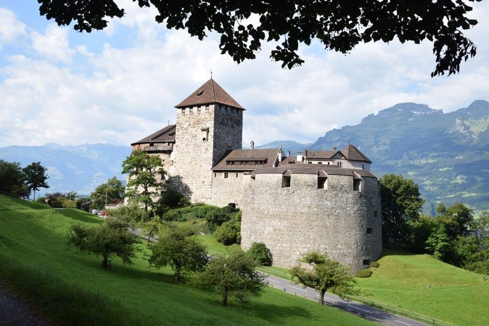 Vaduz Castle framed by leaves
