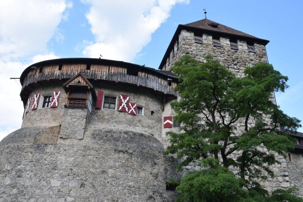 A close up of the towers on Vaduz Castle
