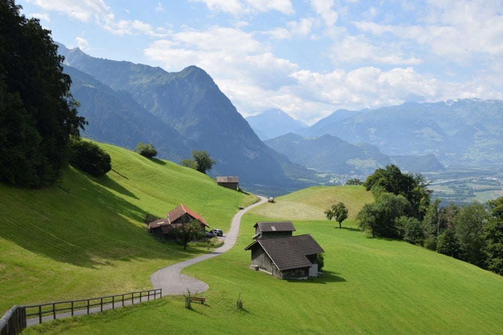 Velvety mountain slopes and Walser houses above Vaduz Liechtenstein