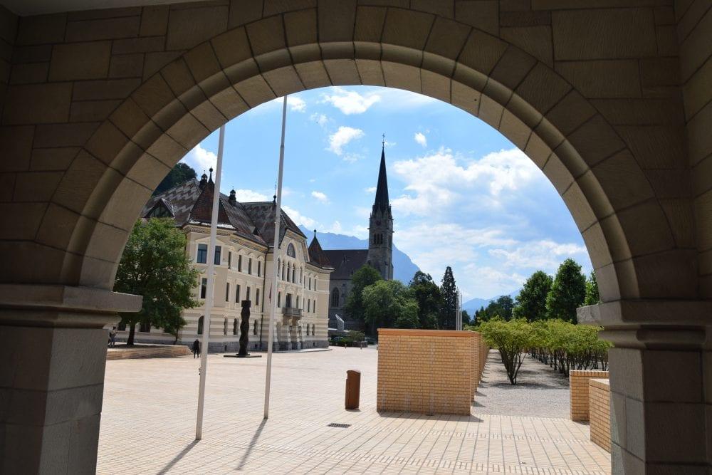 The Kunstmuseum Vaduz viewed through an arch Liechtenstein