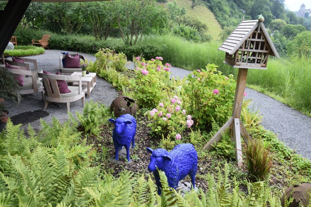Blue sheep in the hotel garden Vaduz