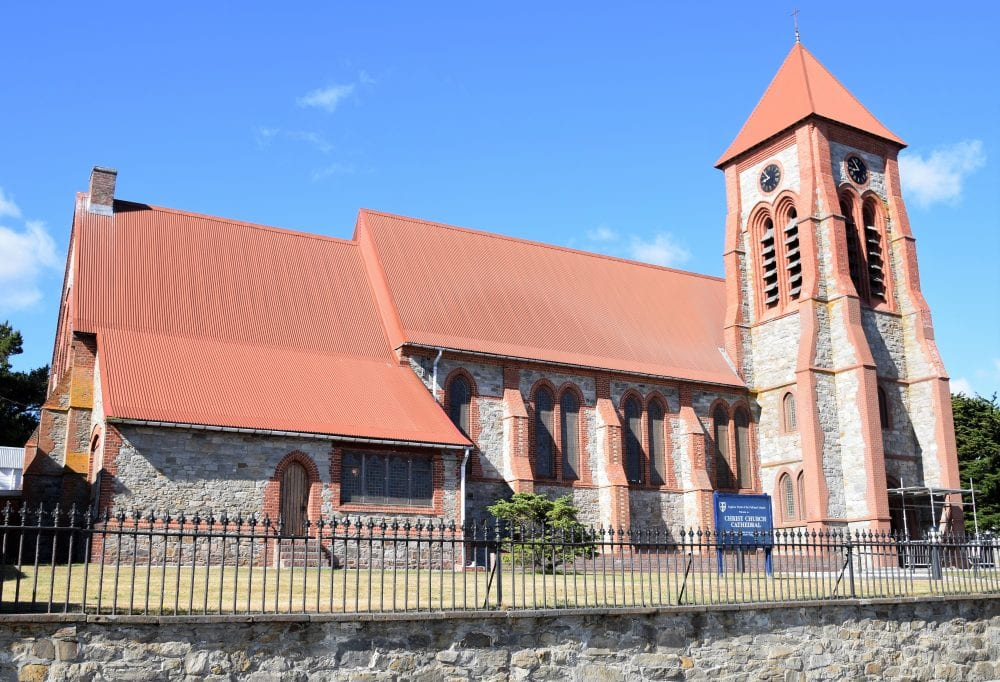 A red-brown roofed church in Stanley, Falkland Islands