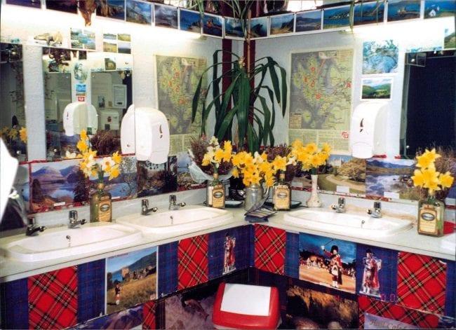 Wash basins decorated with tartan and daffodils