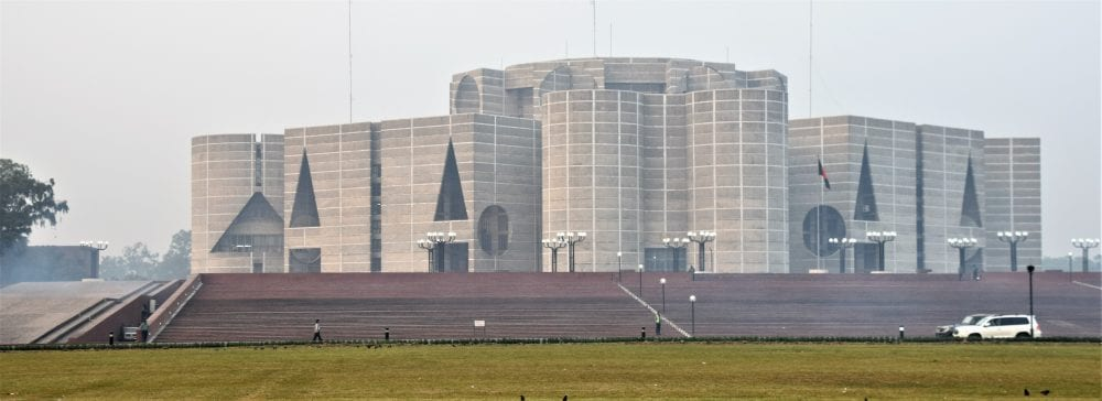 The modern National Assembly Building Dhaka