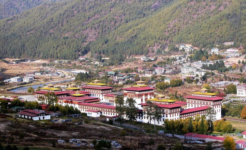 The Royal Palace in Thimphu from above