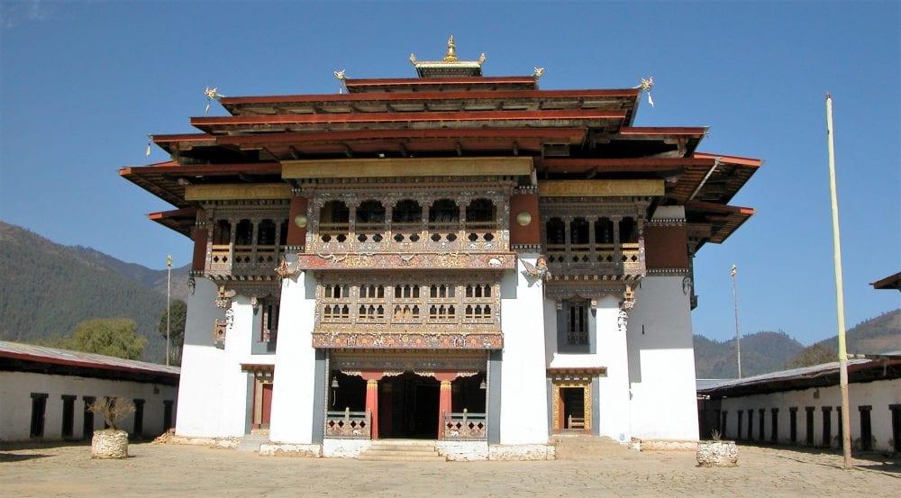A front view of Gangteng Dzong Bhutan