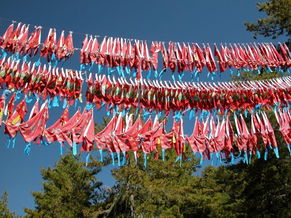 Three rows of red prayer flags in Bhutan