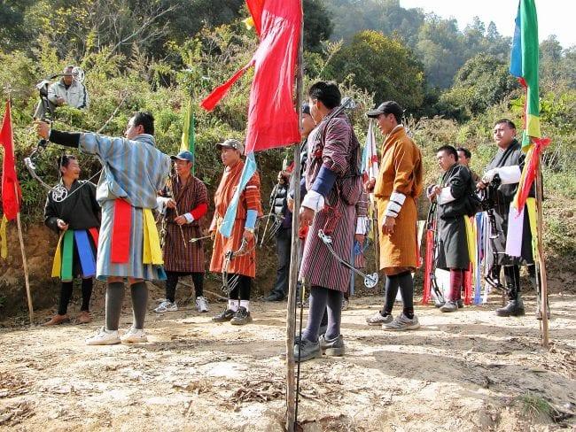 An archery contest in Bhutan