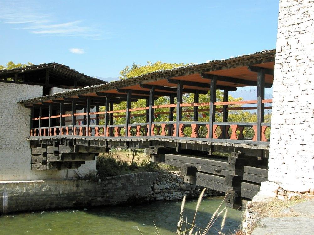 A view of the ancient wooden bridge at Punakha Dzong Bhutan