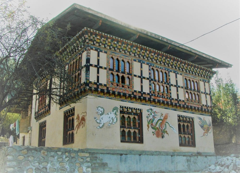 A phallus on the wall of a house in Bhutan