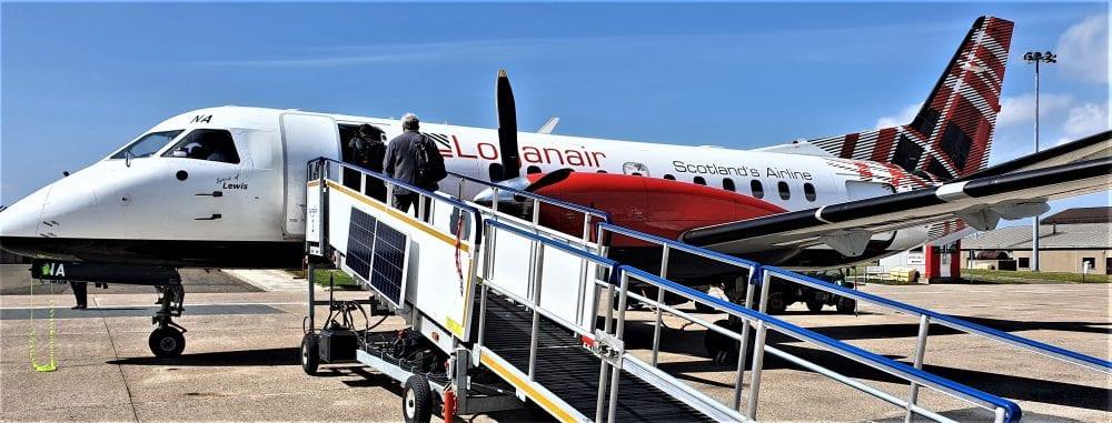 My Loganair plane on the ground at Kirkwall