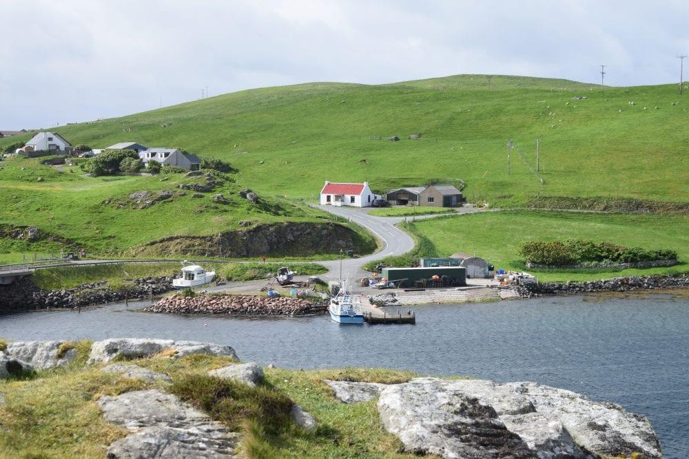 Loch side scene at Muckle Roe, Shetland