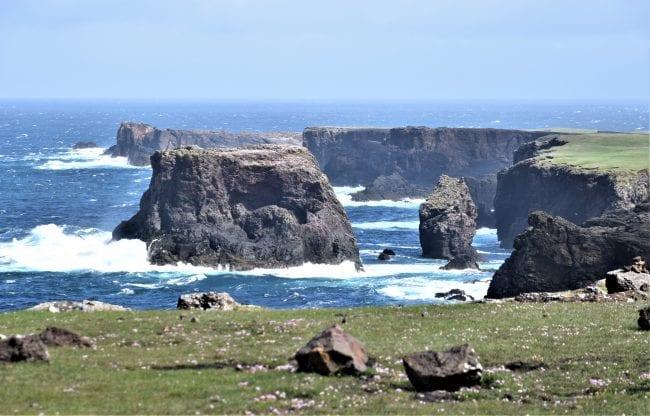 Seas swirling round stacks at Esha Ness Scotland