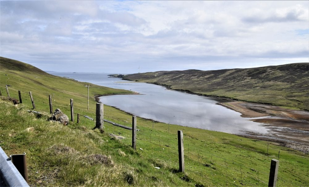 A shining voe or sea loch in mid mainland Shetland seen from the top of a hill