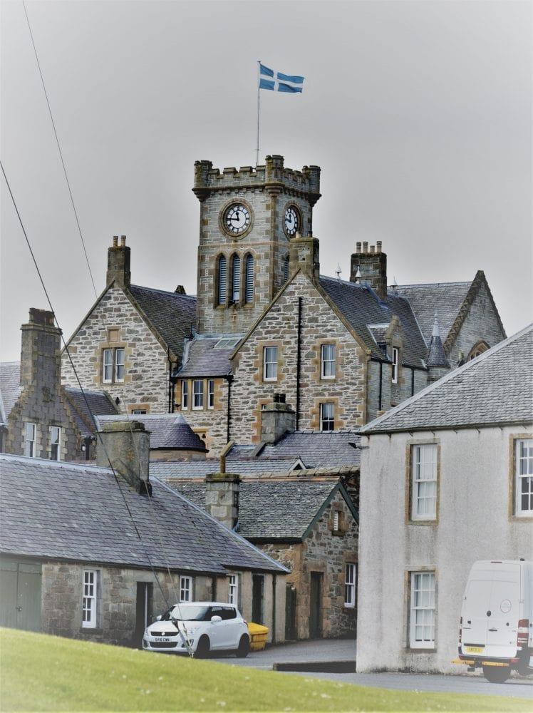 Lerwick Town Hall, the Shetland flag flying from the tower
