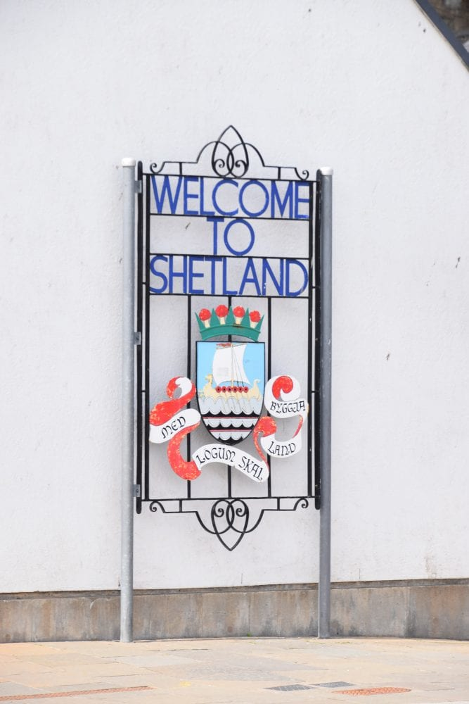A welcome to Shetland sign in Lerwick, Scotland
