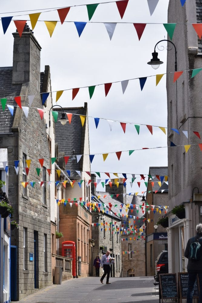 Bunting in the narrow streets of Lerwick