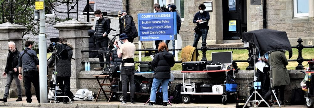 The TV crew filming Shetland at The County Buildings, Lerwick