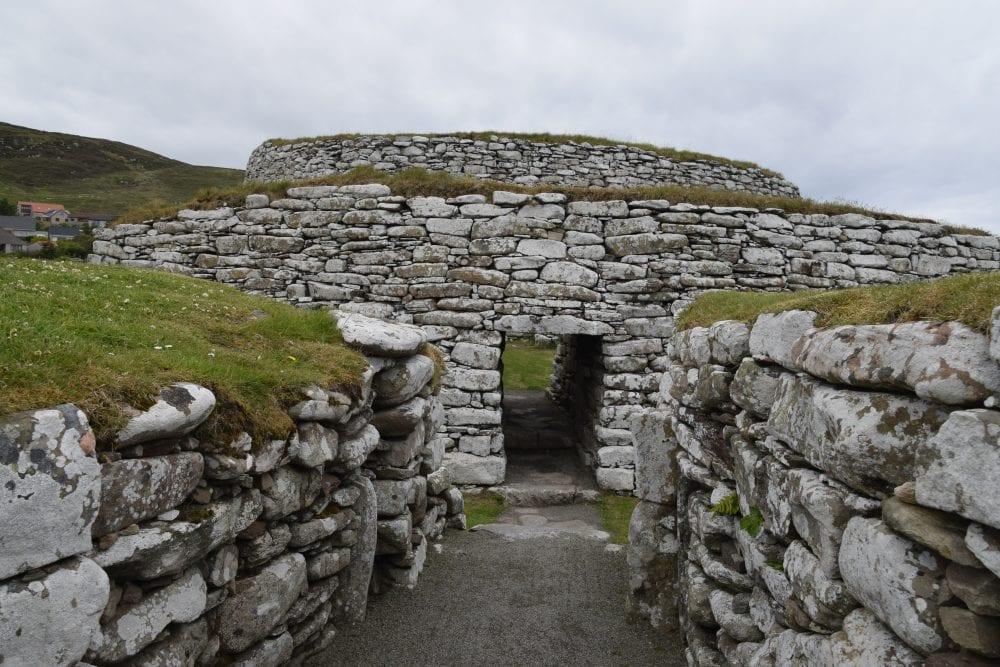 A close up of the main circular building at the restored Broch at Clickimin, Shetland