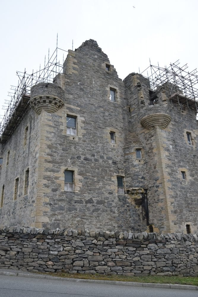 Scalloway Castle covered n scaffolding